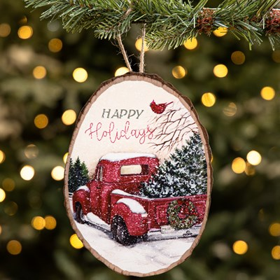"""Happy Holidays"" Red Truck Wood Slice Ornament"