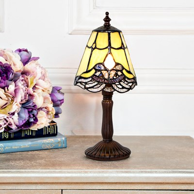 Tiffany Style Stained Glass Lace Mini Accent Lamp - Green