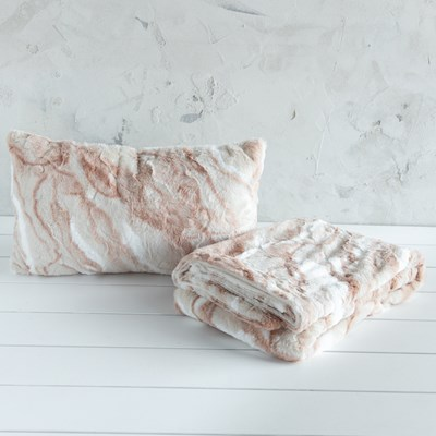 Pink and Ivory Throw with Pillow