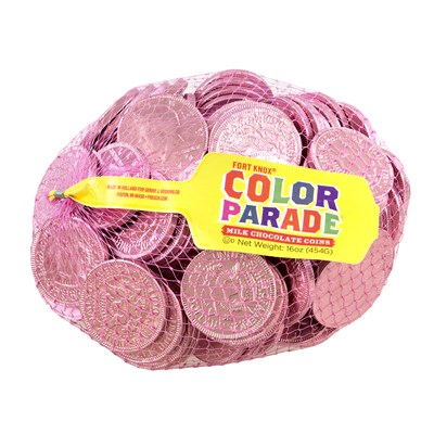 Fort Knox Milk Chocolate Coins Pink Foil - 1lb.