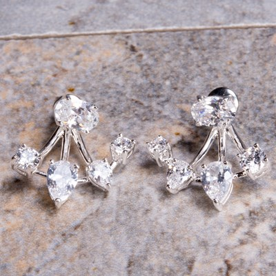 Silver Cubic Zirconia Stud Earring with Enhancer