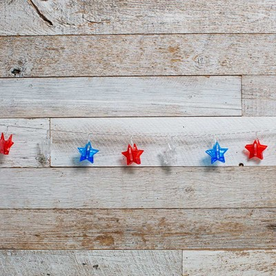 Red, White and Blue Star String Lights