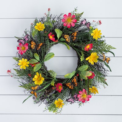 Cosmos Butterfly Wreath