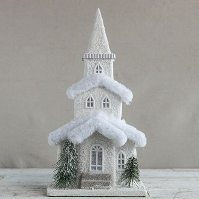 Light-Up Paper Church with Fur Roof Decor