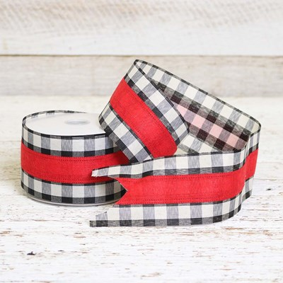 Black and White Plaid with Red Ribbon