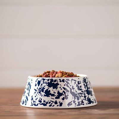 Blue Splatterware Dog Bowl
