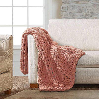 Chenille Knitted Throw - Canyon Clay