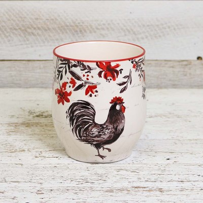 Stoneware Rooster Utensil Holder