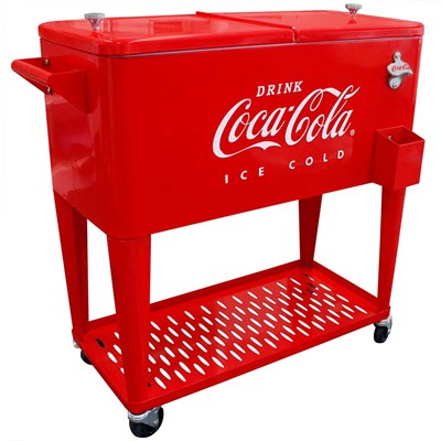 Vintage Style Embossed Coca-Cola ® 80-Quart Cooler with Tray