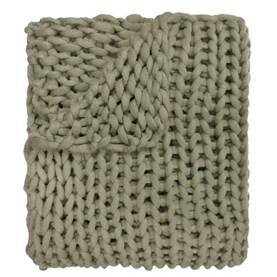 Chunky Knitted Throw - Sage