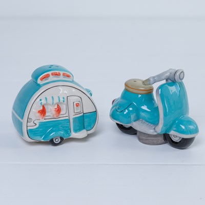 Camper and Motorcycle Salt and Pepper Shaker Set
