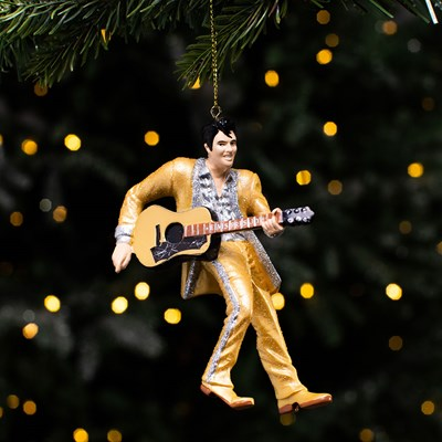 Elvis in Gold Suit with Guitar Ornament