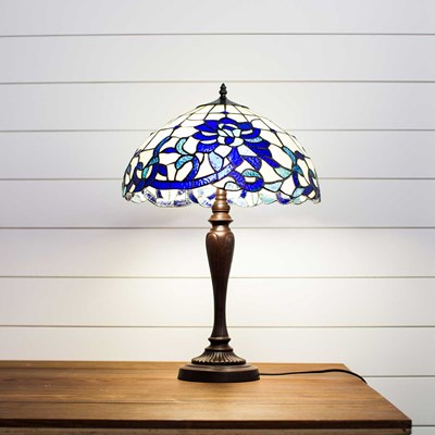 Blue and White Stained Glass Table Lamp