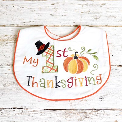 My 1st Thanksgiving Embroidered Bib