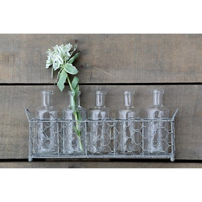 5 Glass Bottle Vases in Wire Baskets
