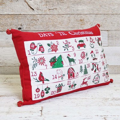 Christmas Countdown Pillow with Bells