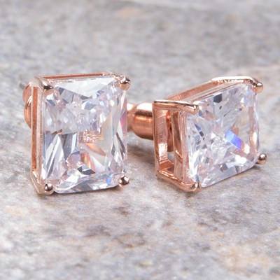 Rose Gold Emerald-Cut Stud Earring