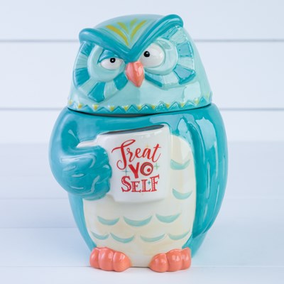 "Owl ""Treat Yo Self"" Cookie Jar"