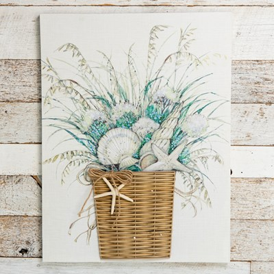 3D Floral Basket Wall Canvas