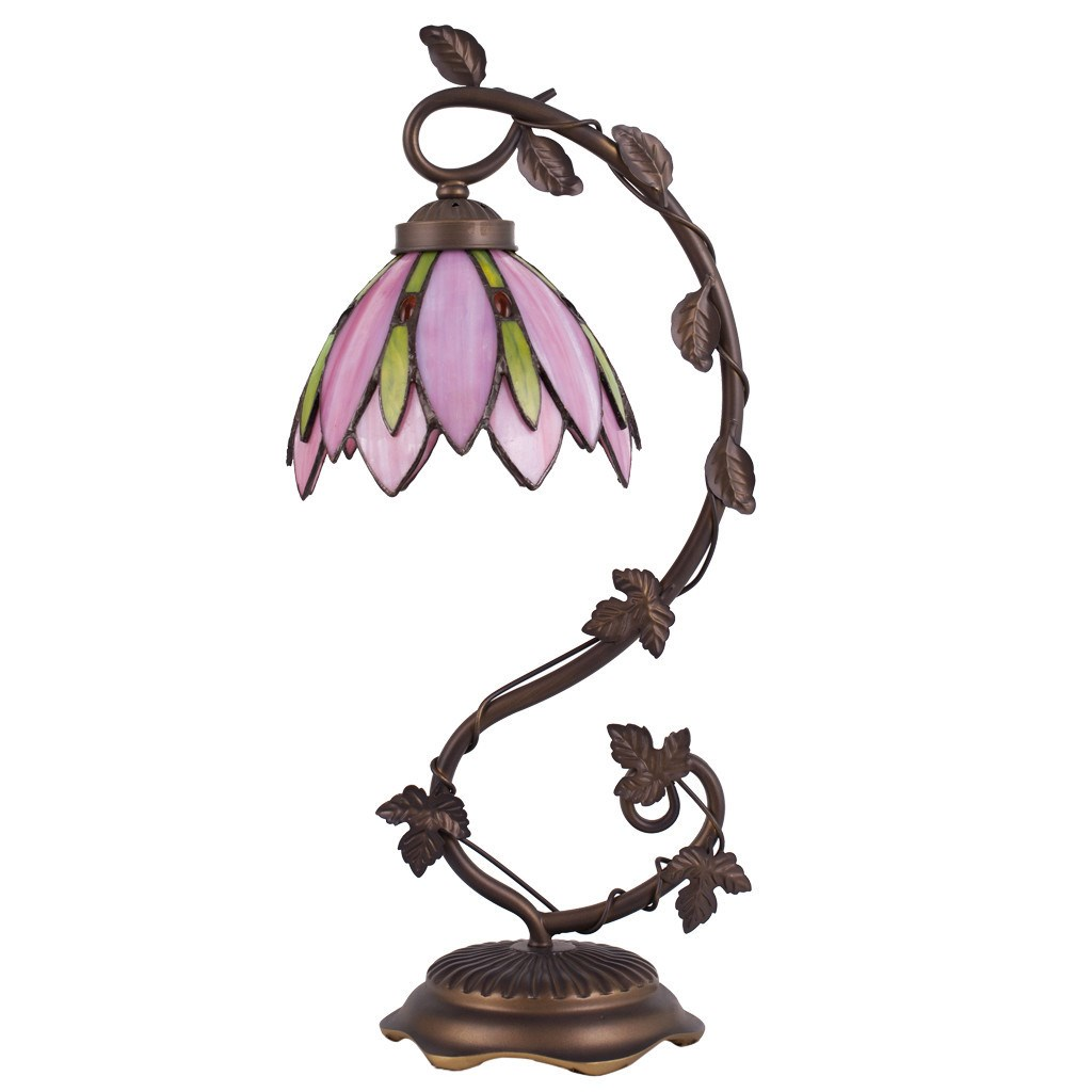 Tiffany Style Stained Glass Lotus Flower Table Lamp Pink Home