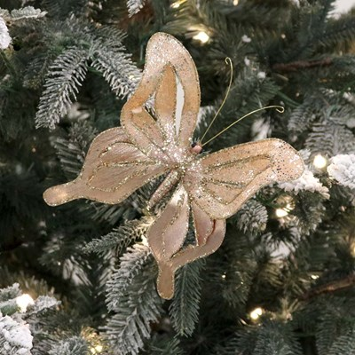 Rose Gold Butterfly Clip Ornament