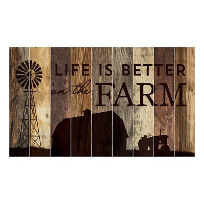 """Life is Better on the Farm"" Barn Board Wall Decor"