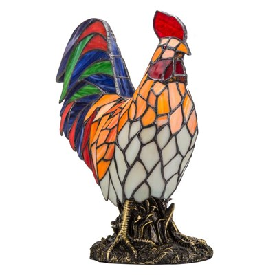 Tiffany Style Stained Glass Rooster Accent Lamp