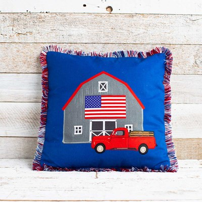 Patriotic Barn and Red Truck Pillow