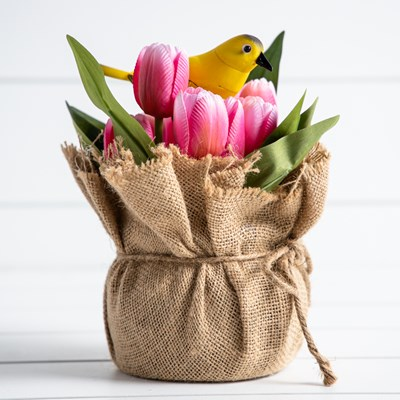 Animated Birds with Tulips