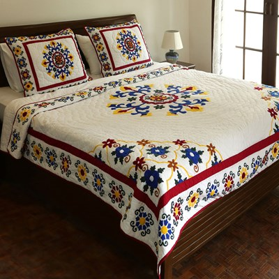 Louise Embroidered Patchwork Quilt - Queen