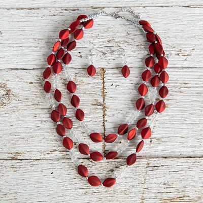 Red Matte Bead Necklace and Earring Set