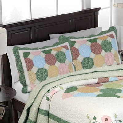 Jane Patchwork Embroidery Floral Quilt Sham