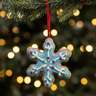 Gingerbread Snowflake Ornament - Blue