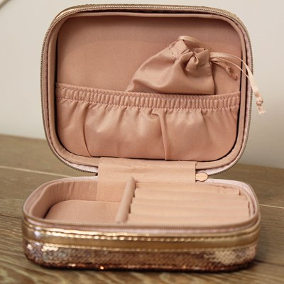 Rose Gold Sequin Travel Jewelry Case