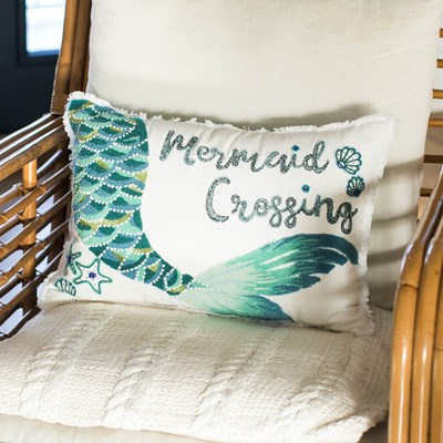 Mermaid Crossing Decorative Pillow
