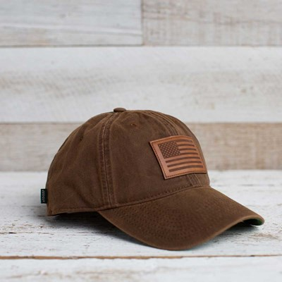 Tonal Leather American Flag Hat