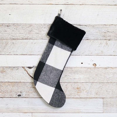 Black and White Plaid Stocking