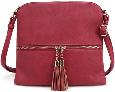 Red Tassel Flat Crossbody Purse