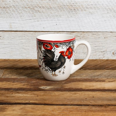 Black Rooster Mug - Right Facing