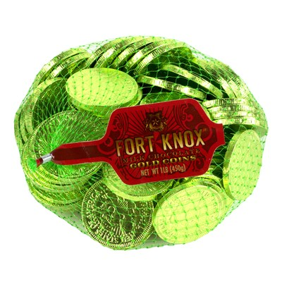 Fort Knox Milk Chocolate Coins Light Green Foil - 1 lb.