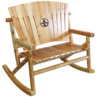 Aspen Wooden Fleur-de-lis Medallion Double Rocker