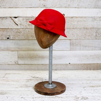 Toddler Red Cloche Hat with Bow