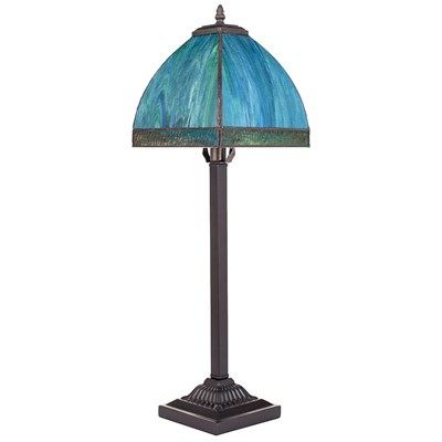 Stained Glass Bent Panel Table Lamp - Aqua