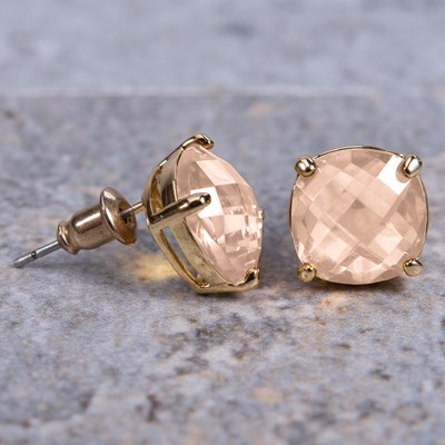Rose Gold Cushion-Cut Crystal Stud Earring