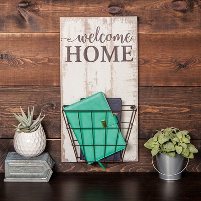 """Welcome Home"" Wall Basket"