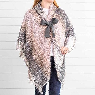 Bow Blush Plaid Shawl