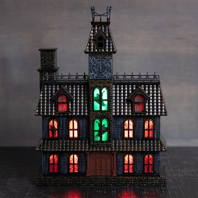 Light-Up Haunted House Mantel Decor with Sound