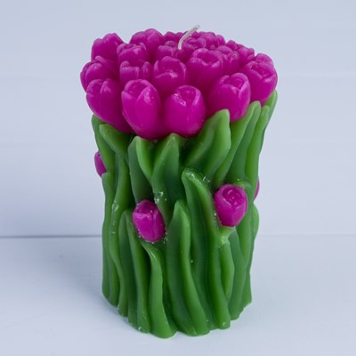 Pink Roses Bouquet Pillar Candle