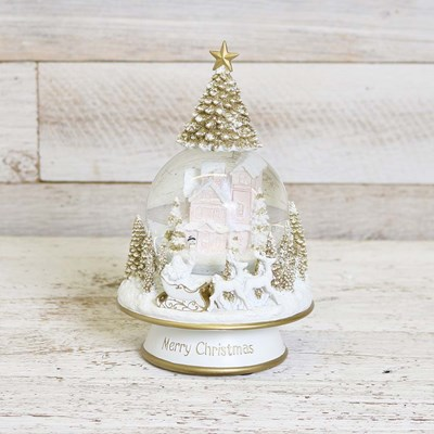 Musical House Snow Globe with Santa