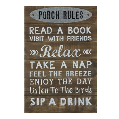 """Porch Rules"" Wall Decor"